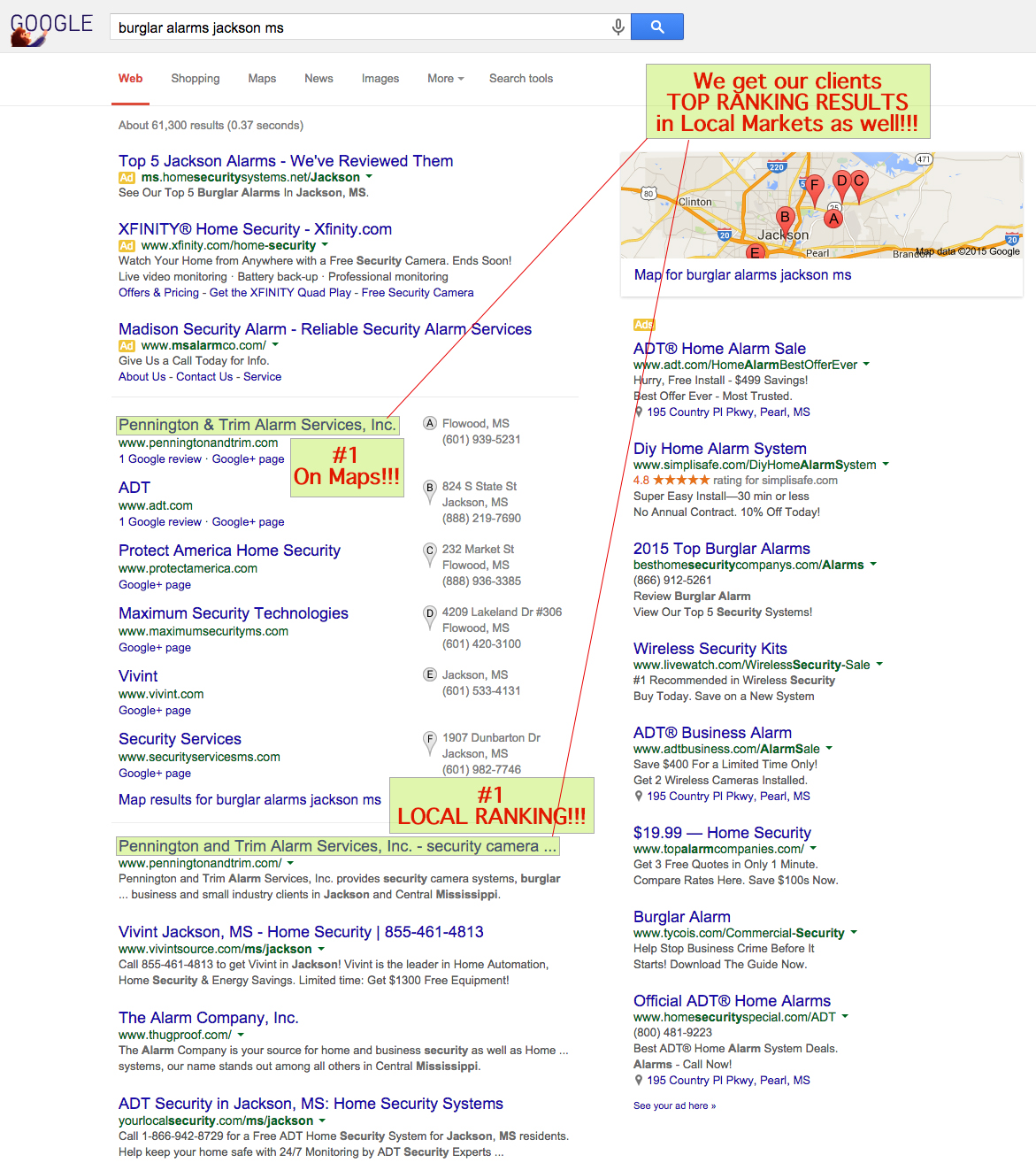 Mississippi SEO, Maps, Organic Traffic